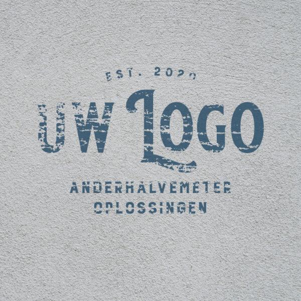 Anderhalve Meter Oplossingen Horeca Scherm Divider met wisselbaar doek abstract beton met logo