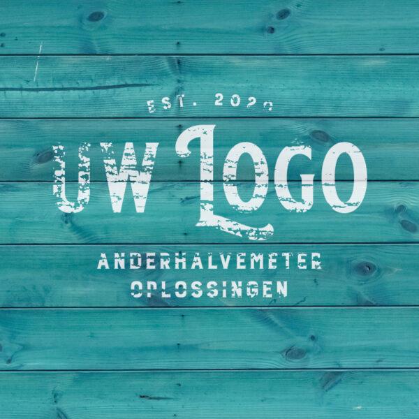 Anderhalve Meter Oplossingen Horeca Scherm Divider met wisselbaar doek abstract hout met logo
